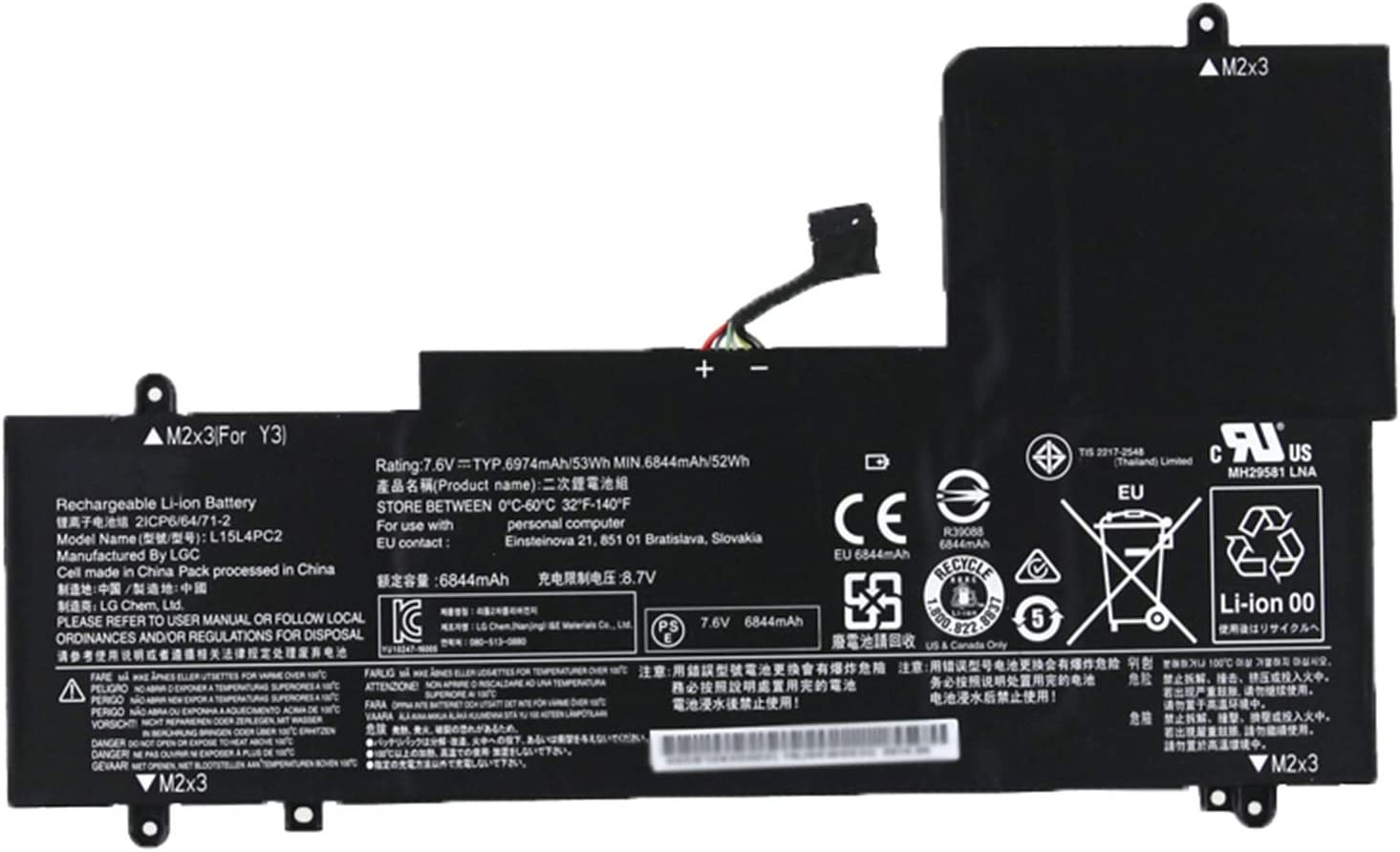 SUNNEAR L15L4PC2 7.6V 53Wh 6974mAh Laptop Battery Replacement for Lenovo Yoga 710 14IKB 14ISK 15IKB 15ISK Series Notebook L15M4PC2
