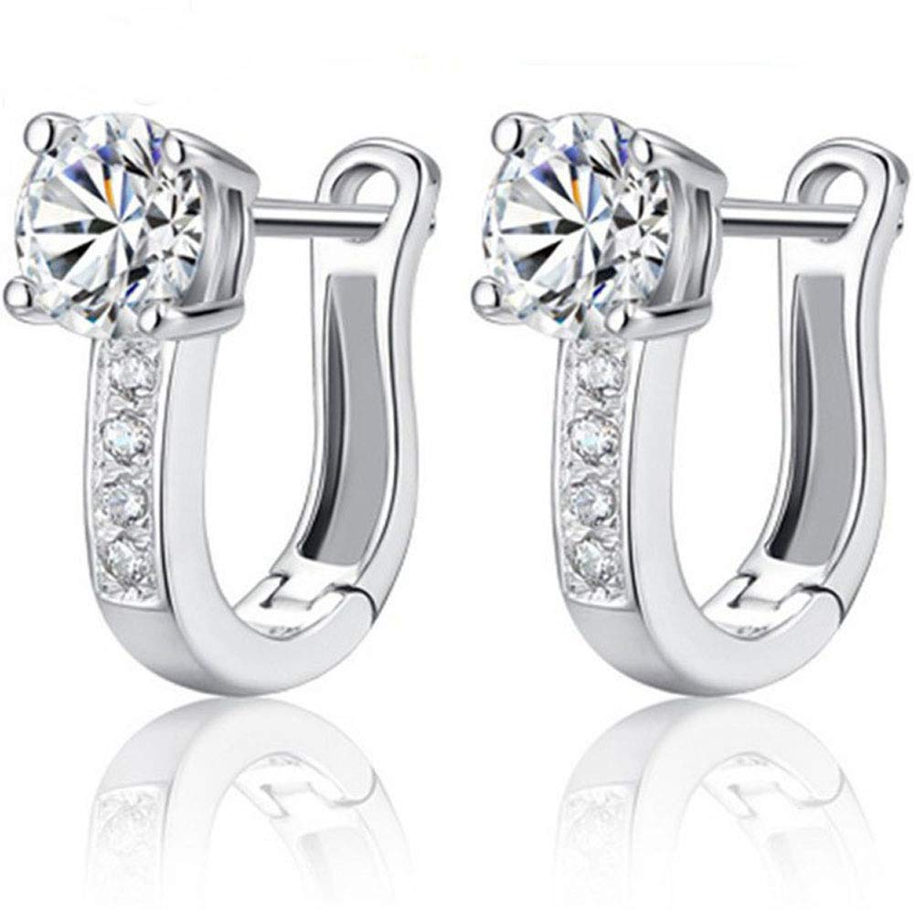 U Shaped Silver Plated Cubic Zirconia Small Hoop Earrings for Women Girls Fashion CZ Studs Hoops Jewelry