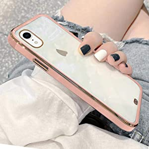 Urarssa Case Compatible with iPhone Xr Crystal Clear Transparent Design Back Bumper Shockproof Slim Fit Soft TPU Silicone Protective Phone Case Cover for iPhone Xr, Pink