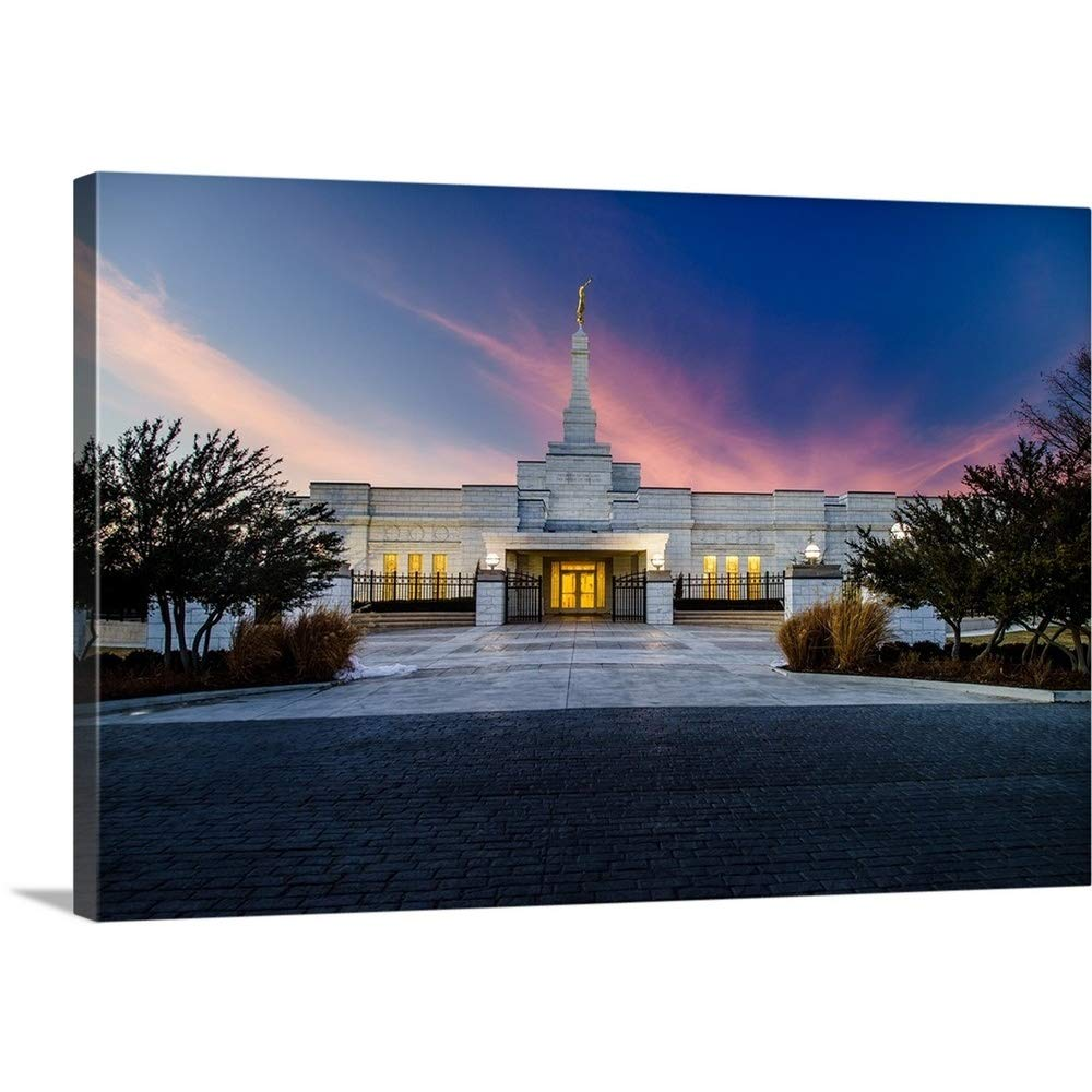 スコットJarvieプレミアムシックラップキャンバス壁アート印刷題名Oklahomaオクラホマ州オクラホマシティTemple、サンセットと雲、ユーコン、 48
