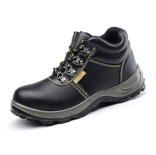 AILU Para Hombre de Piel de Botas Puntera de Acero de Seguridad de Seguridad S3 Tobillo