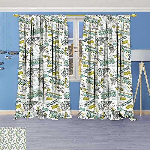 Philiphome Thermal Insulated Window Curtains Choo Choo Train Theme Kids Boy Pattern Blue Green Number Plate Vintage Print Set of Two -