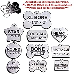 Custom Stainless Steel Pet ID Tags Front and Back Engraved Dog Tags Personalized for Dogs and Cats (XL BONE 1-1/3\