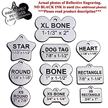 """Custom Stainless Steel Pet ID Tags Front and Back Engraved Dog Tags Personalized for Dogs and Cats (XS ROUND 1""""x7/8"""")"""