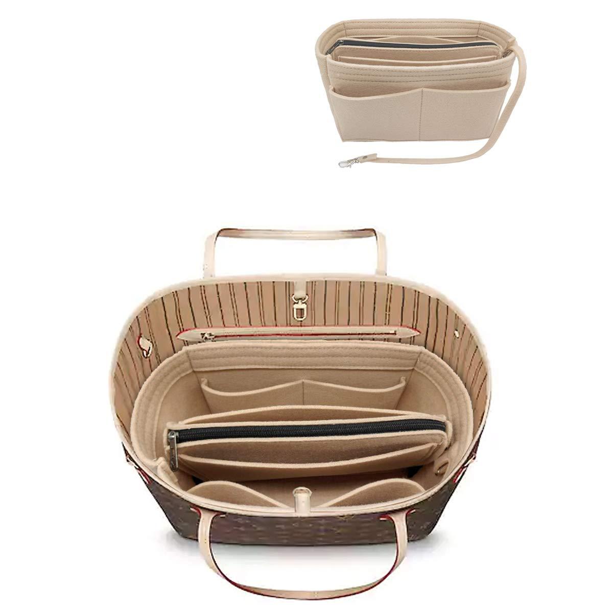 LEXSION Felt Purse Insert Handbag Organizer Bag in Bag Organizer with Handles Holder 8021 Beige M by LEXSION