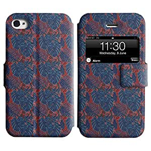 LEOCASE hojas azules Funda Carcasa Cuero Tapa Case Para Apple iPhone 4 / 4S No.1004687