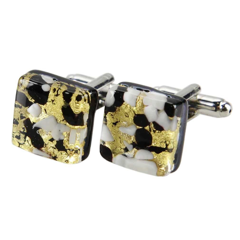 Schwarzes Gold GlassOfVenice Herren Venetian Quadrat Manschettenkn/öpfe