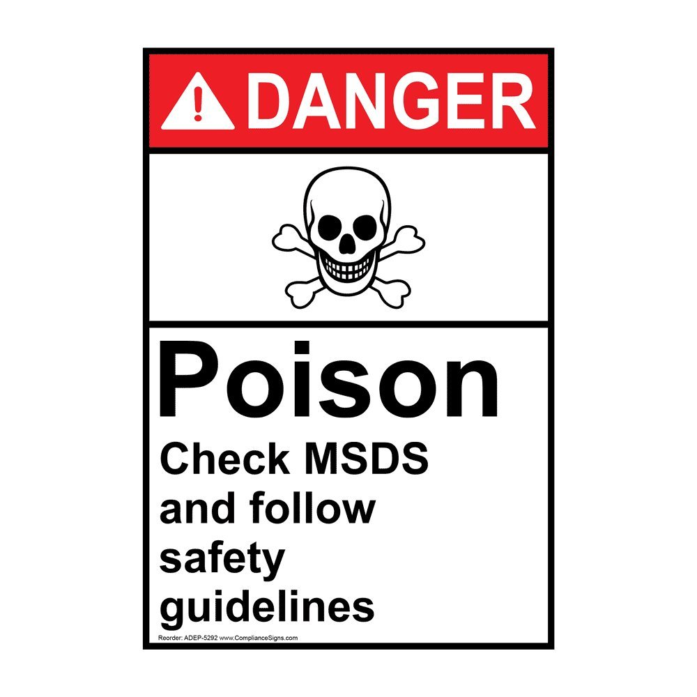 Compliancesigns Vertical Vinyl Ansi Danger Poison Check Msds And