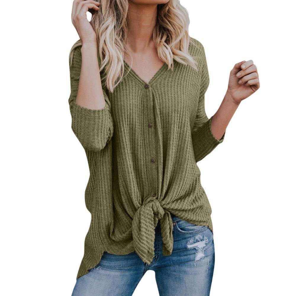 Ulanda Womens Waffle Knit Tunic Blouse V Neck Button Down Tie Knot Henley Tops Bat Wing Plain Shirts