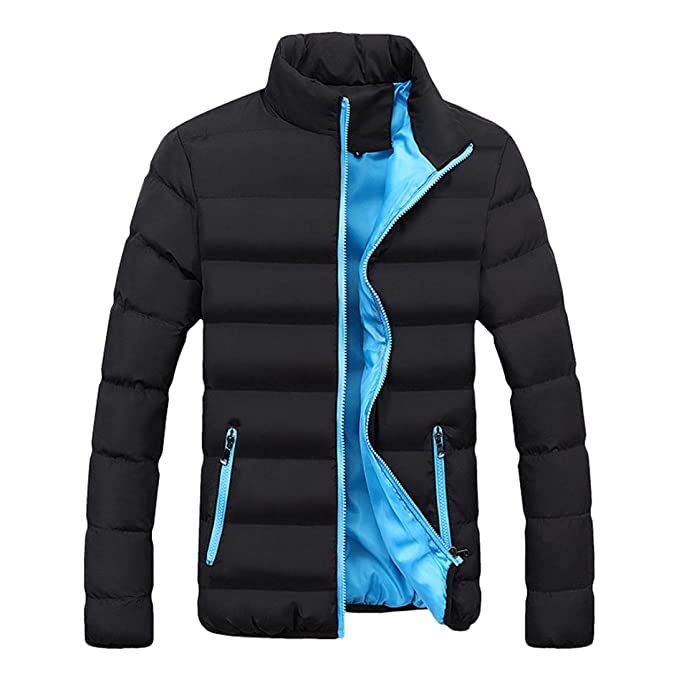 9225ced447c Paymenow Men s Down Puffer Jacket Plus Size Winter Slim Fit Thicken Casual  Parka (Blue