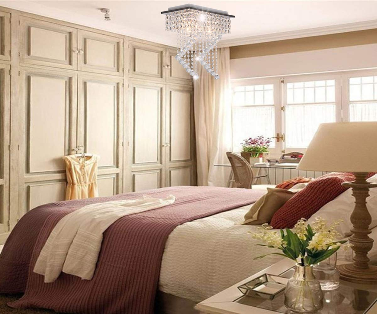 Surpars House Flush Mount 2-Light Crystal Chandelier, Length:15'' Width:7.87'' Height:15.3'',Silver by Surpars House (Image #4)