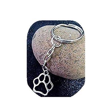 Encanto de huellas de perro gato DIY llavero, plata tono ...