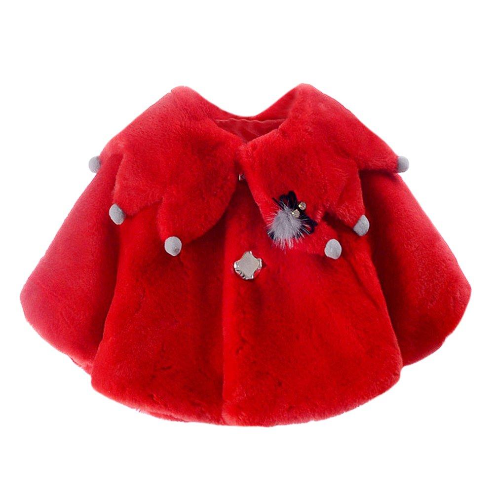 Baby Toddler Girls' Tree Collar Faux Fur Winter Cape Wrap Coat Cloak Red 2-3
