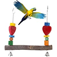 Sanwooden Funny Parrot Toy Wooden Pet Bird Squirrel Parrot Chewing Climbing Swing Toy Cage Decor with Bells Pet Supplies