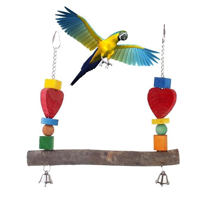 Percha de madera para pájaros, loro, ardilla, Budgie, cono, color ...