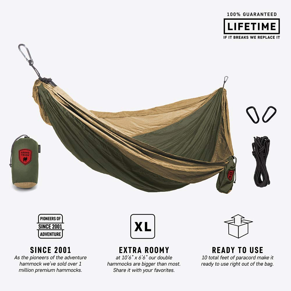 Grand Trunk Double Parachute Printed Nylon Hammock: Portable with Carabiners and Hanging Kit - Perfect for Outdoor Adventures, Backpacking, and Festivals, Olive Green/Khaki by Grand Trunk