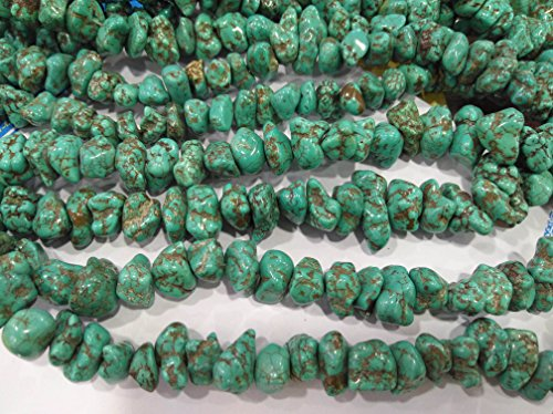 Turquoise Gemstone Green Brown Chips Nuggets FreeForm Turquoise Beads 8-15mm full strand 16inch 55pcs