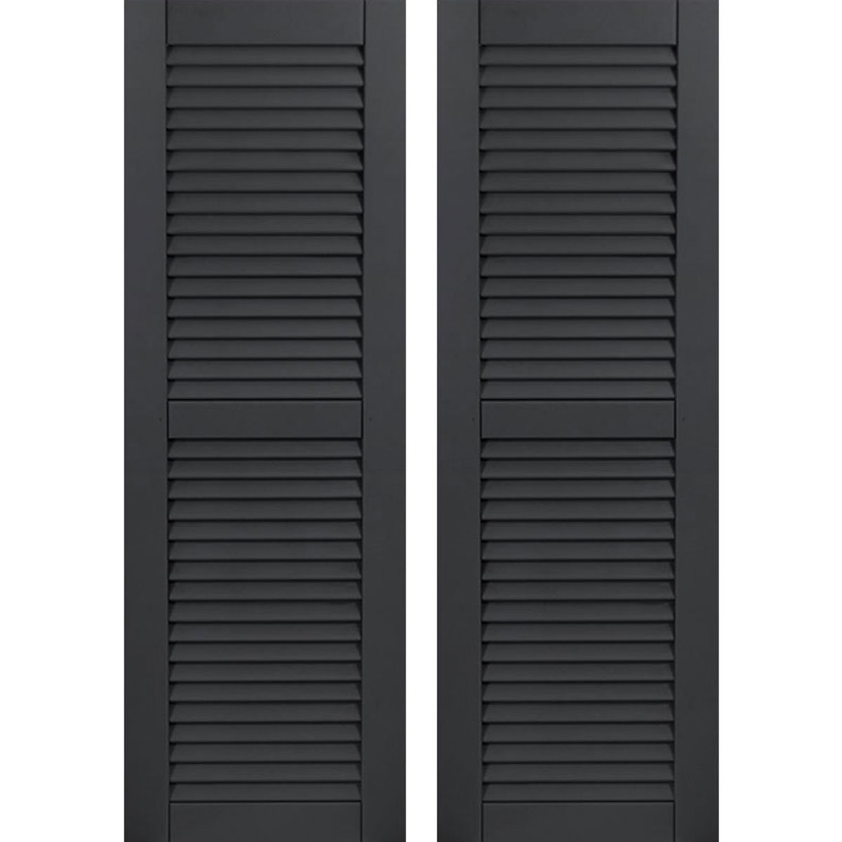 15W x 53H Ekena Millwork CWL15X053BLC Exterior Composite Wood Louvered Shutters with Installation Brackets Per Pair Black