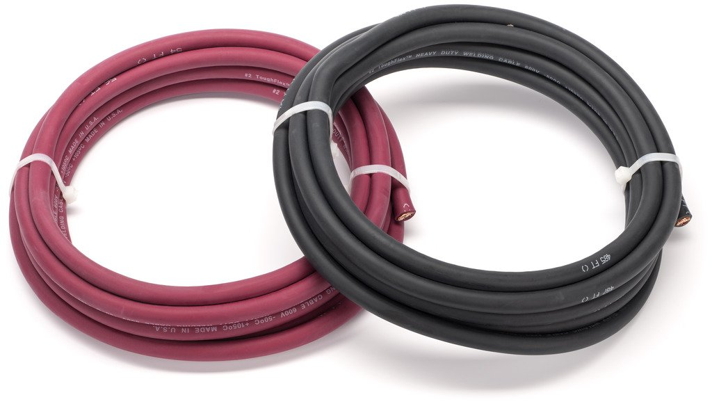 2 Gauge Premium Extra Flexible Welding Cable 600 VOLT COMBO PACK - BLACK+RED - 25 FEET OF EACH COLOR - EWCS Spec - Made in the USA!