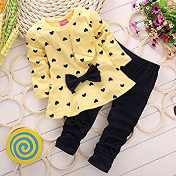 Pants Outfit 2PCS Kids Baby Heart-shaped Printed Bow Long Sleeves Cotton Shirt