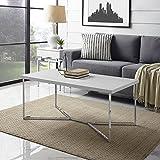 WE Furniture AZF42LUXWMC Coffee Table, Faux Marble/Chrome