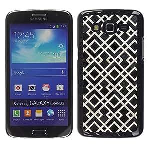 Paccase / SLIM PC / Aliminium Casa Carcasa Funda Case Cover para - Heart Glitter Lines Navy Blue Love - Samsung Galaxy Grand 2 SM-G7102 SM-G7105