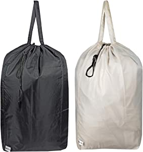 UniLiGis Washable Travel Laundry Bag with Handles and Drawstring, Heavy Duty Large Enough to Hold 3 Loads of Laundry, Fit a Laundry Basket or Clothes Hamper, 27.5x34.5 in, Beige and Black