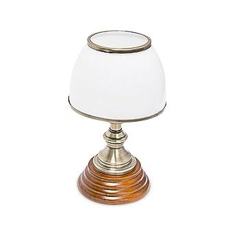 Relaxdays Tischlampe Holz Jugendstil Mit Glasschirm Weiss Messing