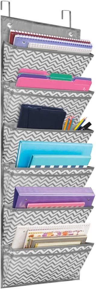 Eamay 4 Pocket Over The Door Wall Mount Hanging File Organizer Office Supplies Storage Hanging Folder Organizer for School Paper Office Contract,Planner,Wave Pattern