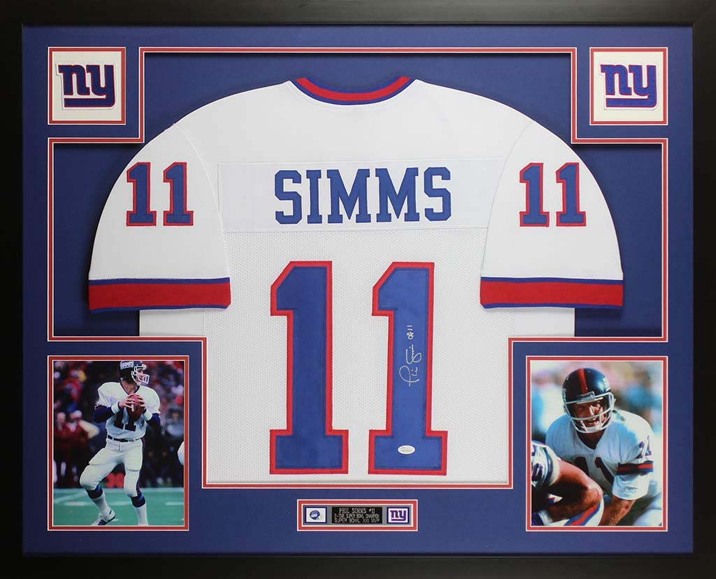 Amazon.com: Phil Simms Autographed White New York Jersey ...