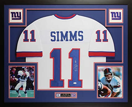016308d01 Phil Simms Autographed White New York Giants Jersey - Beautifully Matted  and Framed - Hand Signed