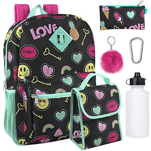 Case Bag Keychain (Girl's 6 in 1 Backpack Set With Lunch Bag, Pencil Case, Bottle, Keychain, Clip (Emoji))