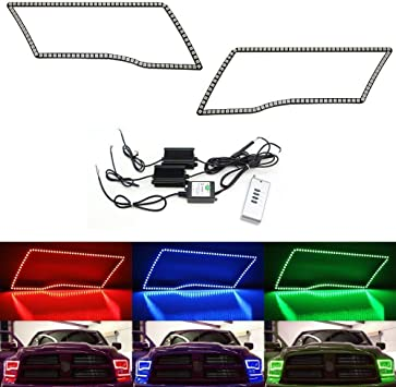 RGB Multi-Color LED Angel Eye Halo Rings For 2009-17 Dodge RAM Truck w//Remote