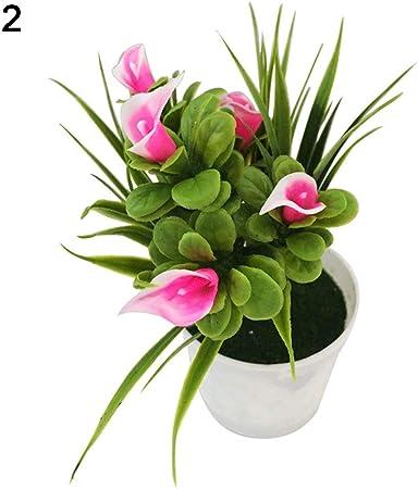 RIsxffp Plantas Artificiales en Maceta Flor Artificial Bonsai Etapa Jardín Boda decoración del Partido del hogar Accesorios(1 Unid) Pink: Amazon.es: Hogar