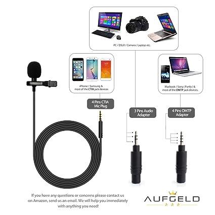 Mini micrófono de condensador profesional de lavalier para Apple iPhone Android Windows Smartphones con clip para entrevistas, Youtube Video Voice Podcast ...