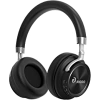 RIODO Bluetooth Over Ear Foldable Wireless Headphones with Mic for Work Office Travel TV PC Phone (Black)