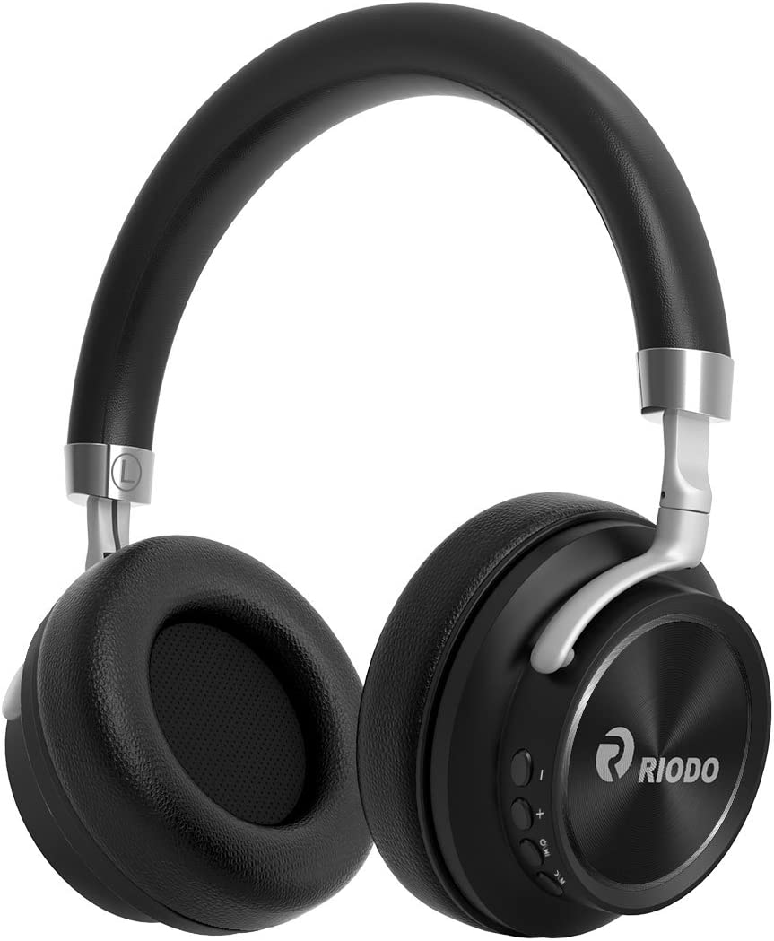 RIODO Bluetooth Headphones, Over Ear Foldable Wireless Headset with Mic, Soft Memory-Protein Earmuffs, 25 Hours Playtime for Work Office Travel TV PC Phone