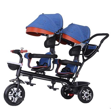 TCYLZ Triciclo de niños Gemelos Trolley para bebés, carros ...