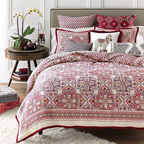 Sky Zophia 3 Piece Full Queen Duvet Cover Set Cotton - Moroccon Style Multi Color (Style Duvet Moroccan)