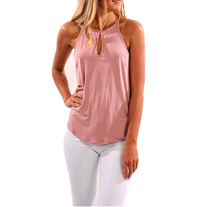 98622830d64bd0 Amazon.com  MAGICMK Women s Tank Tops Flowy Casual Halter Loose Sleeveless  Shirts (Pink