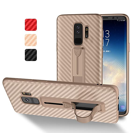 online store f6949 0d8af Samsung Galaxy S9 Plus S9+ Case Carbon,XUNDD Ultra Soft TPU Hybrid 3D  Carbon Fiber Texture Back Cover [Anti-Slip] [Kickstand][Lightweight]  Samsung ...