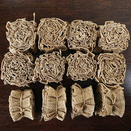 Efavormart 15 YARD Ruffle Lace Trim With Burlap Fabric For Dress Craft Sewing Trimming - NATURAL (Raffia Trim)