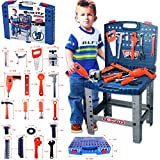 FunkyBuys Kids Tools Work Bench Kit Set Folding DIY Construction Pretend Play Set Case Boys Toy w/ Battery Operated Drill