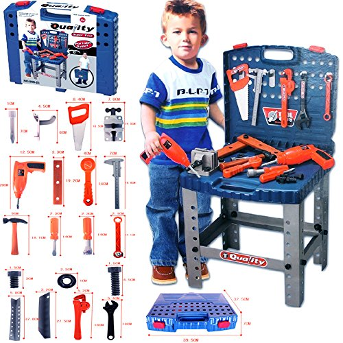 FunkyBuys? Kids Tools Work Bench Kit Set Folding DIY Construction Pretend Play Set Case Boys Toy w/ Battery Operated Drill by FunkyBuys by FunkyBuys