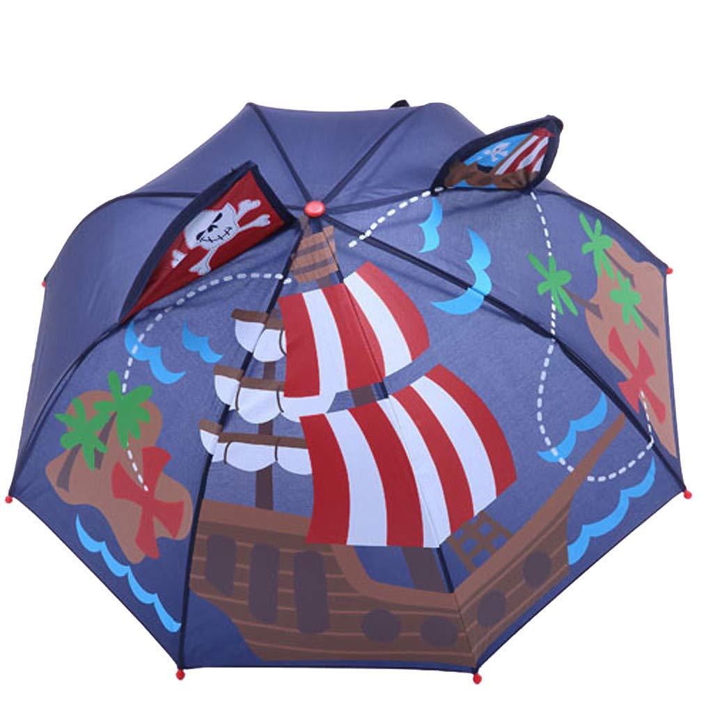 Shirazawa Baby Cover Parasol for Sun Rain Protection UV Rays 3D Cartoon Outdoor Umbrella Wind Resistant Folding Umbrella Rain Windproof