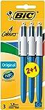 BIC 4 Colours Original Ballpoint Pens 2+1 Pack