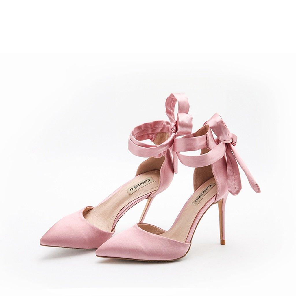 QINGTAOSHOP Zapatos de Tacón Alto para Mujer/Rosa Zapatos Tacón Tacón Tacón Alto de Seda Rosa con Tacón Alto (Color : Rosa, Talla : 37-8cm) 68175a