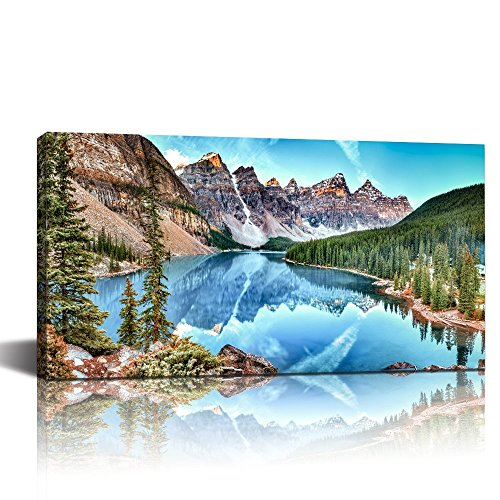 LevvArts - Banff National Park Landscape Canvas Wall Art,Moraine Lake and Mountain Range Canadian Rocky Mountains Canvas Print for Home Decor,Nature Scenery Wall Art -24