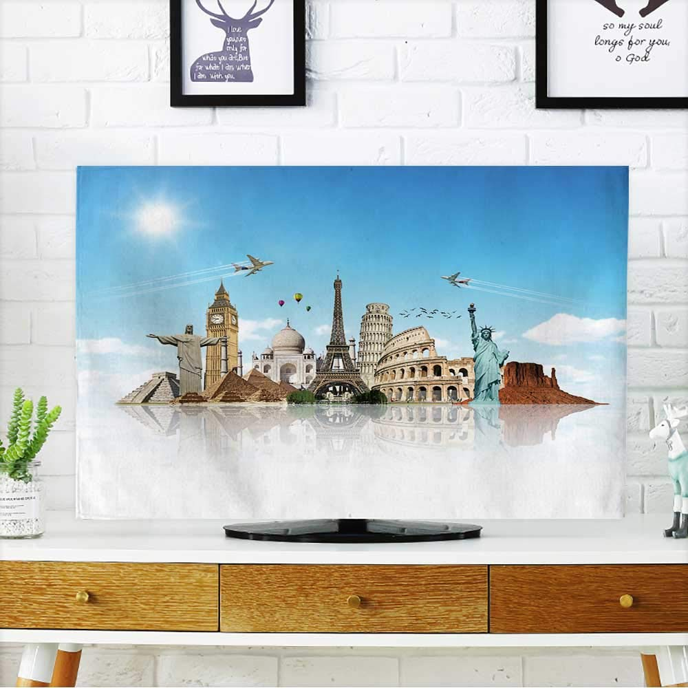 PRUNUS tv Protective Cover Travel The World Monuments Concept Reflection tv Protective Cover W19 x H30 INCH/TV 32''