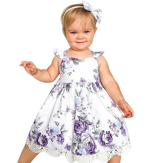 fb745caa31b38 Moonker Girls Dresses,Toddler Baby Girl Summer Flower Print Lace Sleeveless  Backless Vest Princess Dress